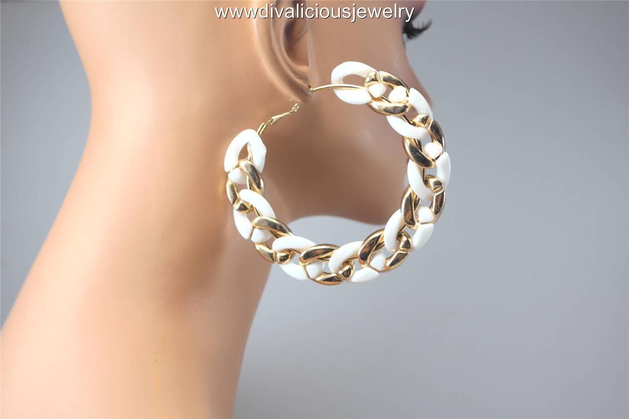 Jumbo Chain Link Lightweight Diva Hoop Earrings 4