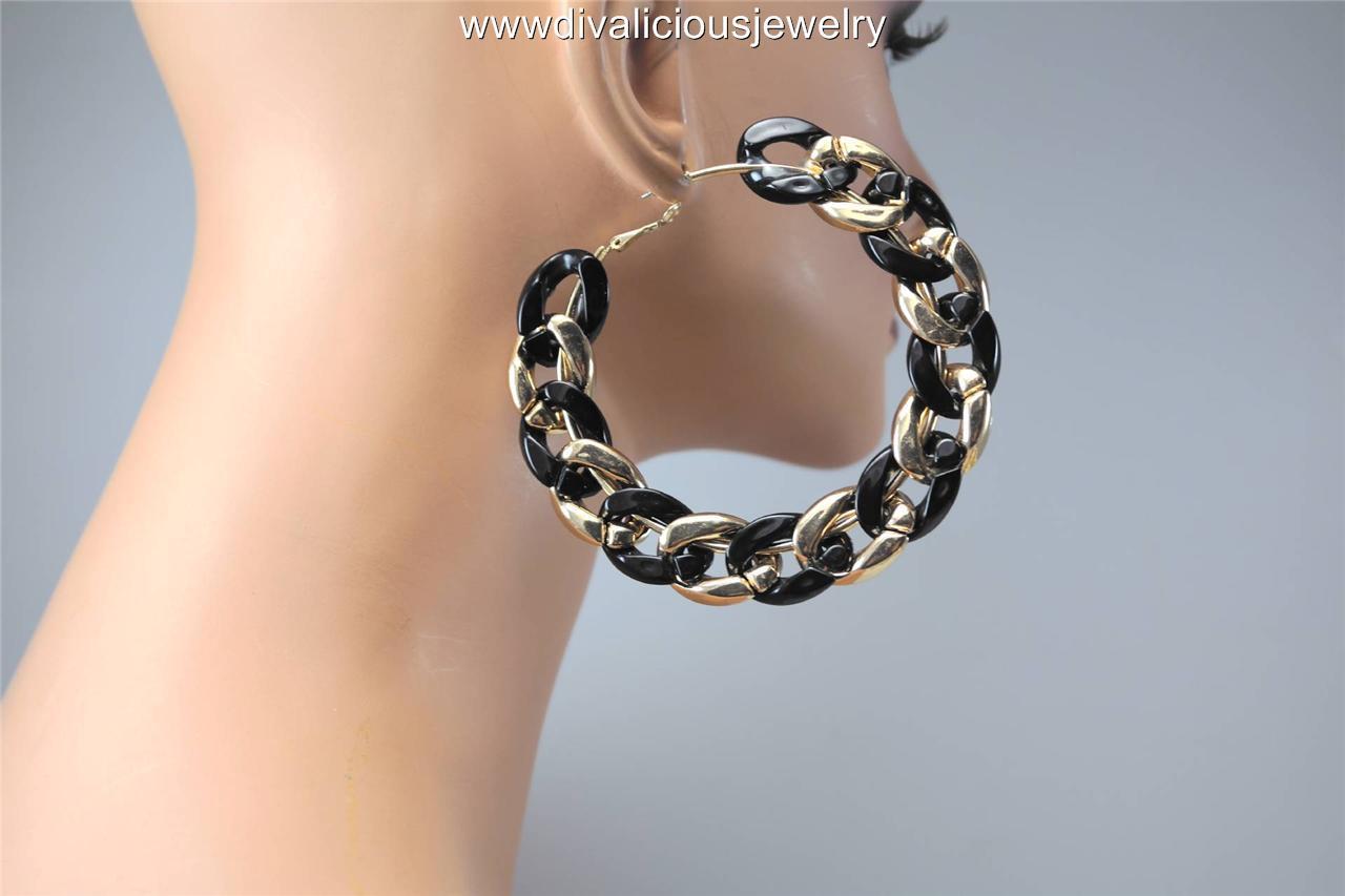 Jumbo Chain Link Lightweight Dual Color Diva Hoop