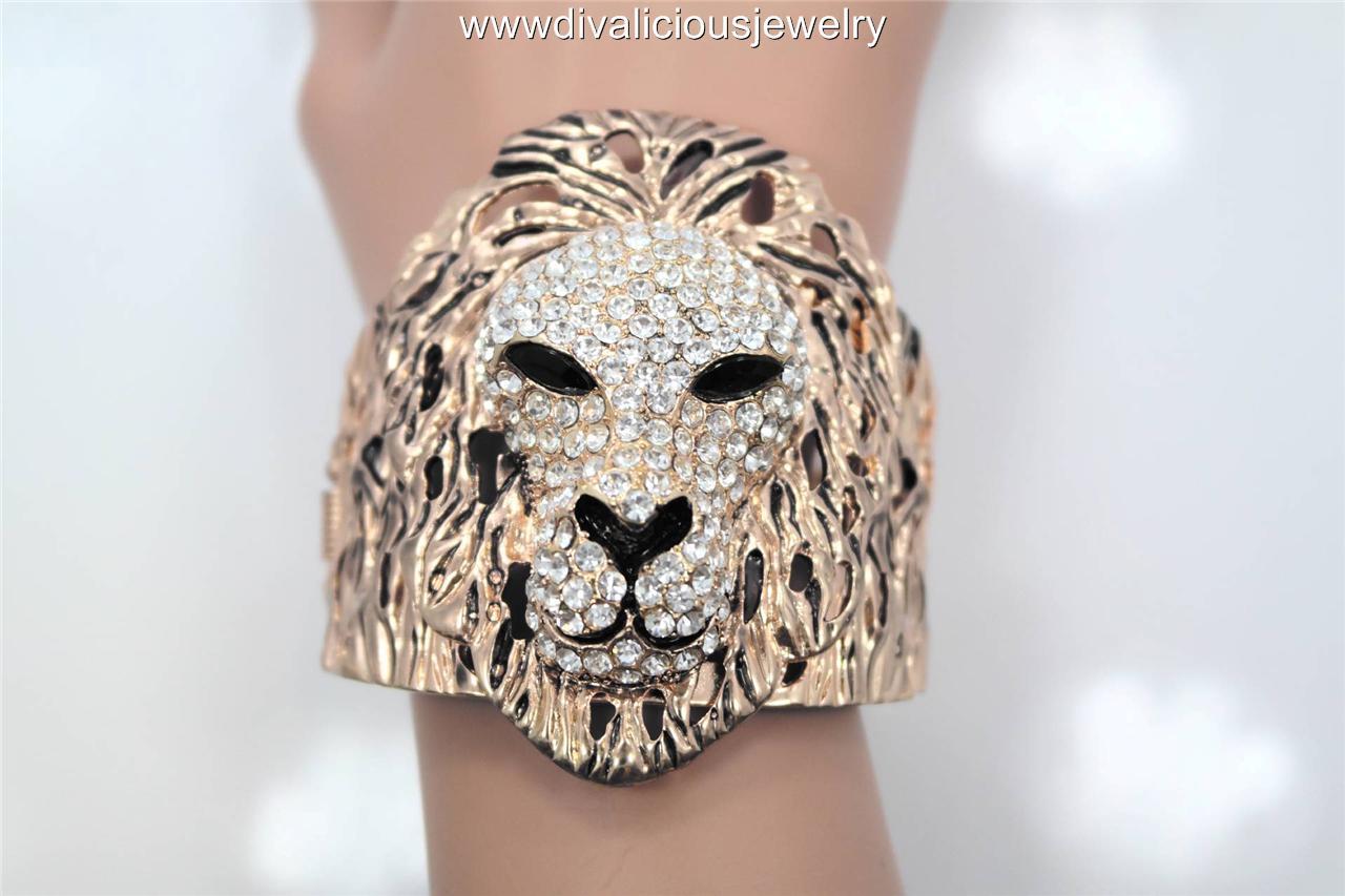 Crystal Royal Lion Bling Diva Bangle Bracelet - Gold or Silver