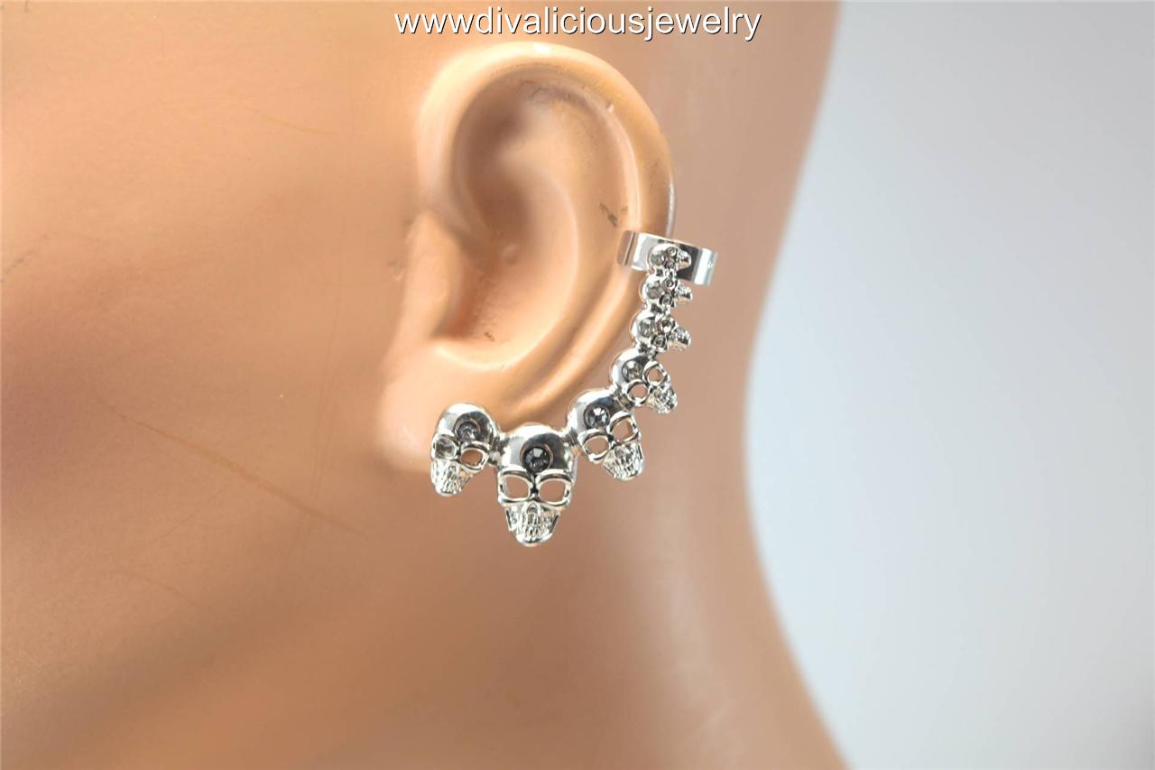 Crystal Multi Skull Bling Diva Ear Cuff - Gold or Silver