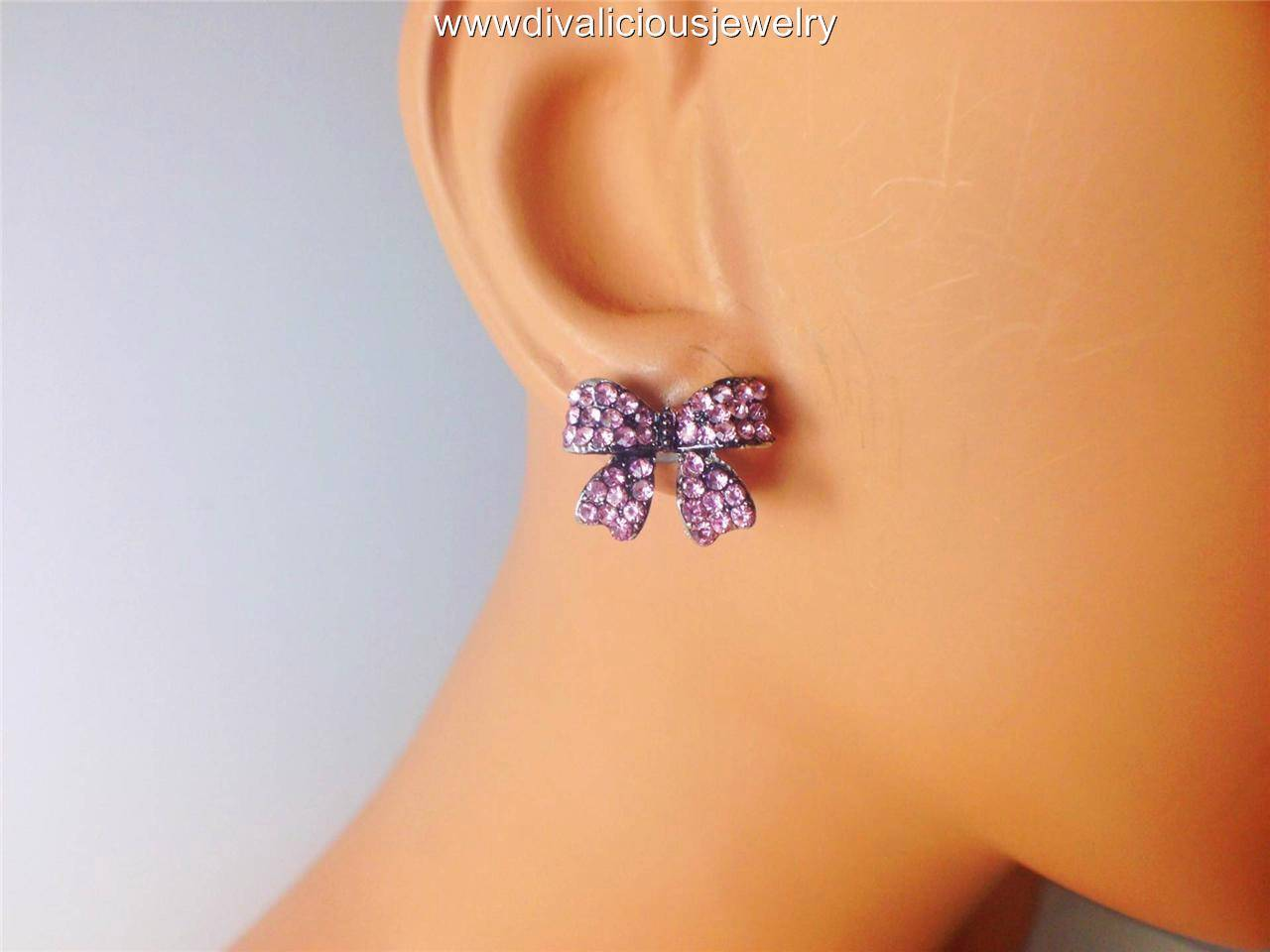 Crystal Butterfly Bow Tie Ribbon Bling Diva Stud Earrings - 5 Colors