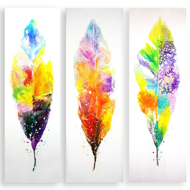 150x50 cm large multi color feather oil painting canvas for Large colorful wall art