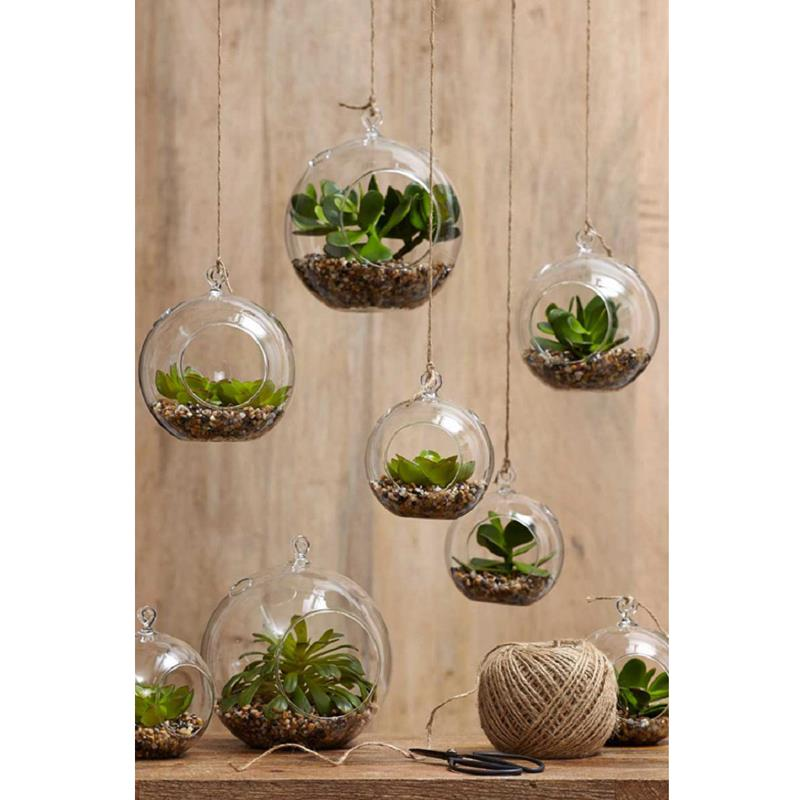 terrarium succulents in glass mini hanging garden real like plant pot home decor ebay. Black Bedroom Furniture Sets. Home Design Ideas
