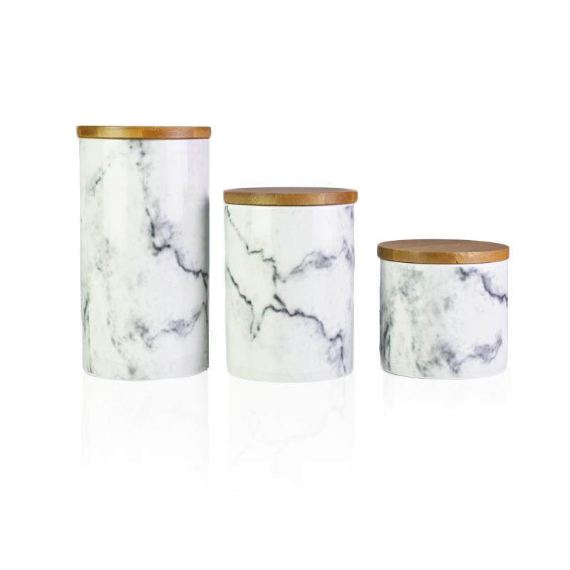 Marble ceramic canister sugar coffee tea container kitchen - Coffee tea and sugar canisters ...