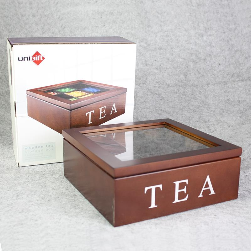 9 Division Compartment Vintage Wooden Tea Bag Storage Box