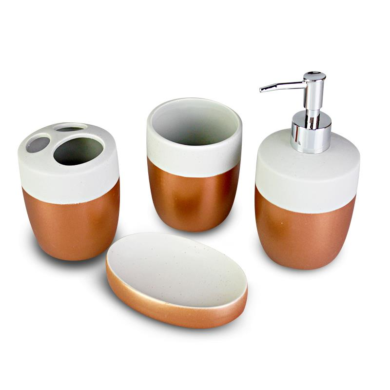 4pcs copper ceramic bathroom accessory set home decor for Ceramic bathroom accessories sets