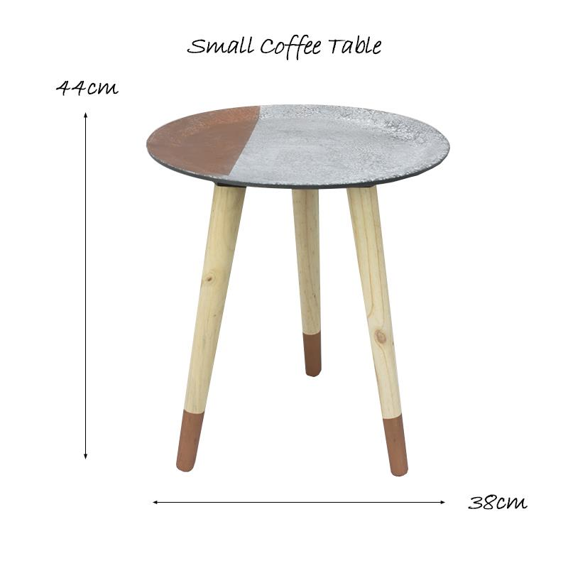 Copper And Wood Coffee Table: Geometric Copper And Concrate Design Wooden Coffee Side
