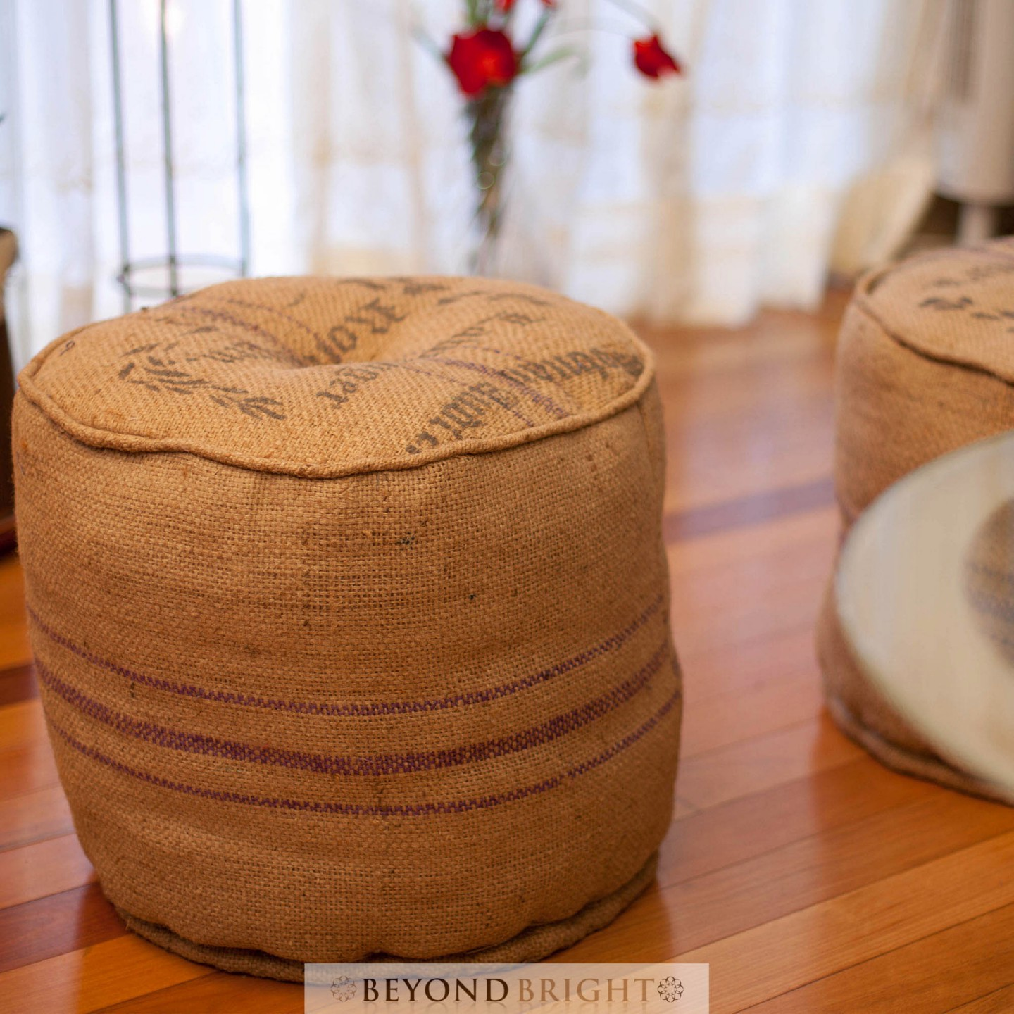 Jute Round Poof Pouffe Ottoman Chair Foot Stool Footstool