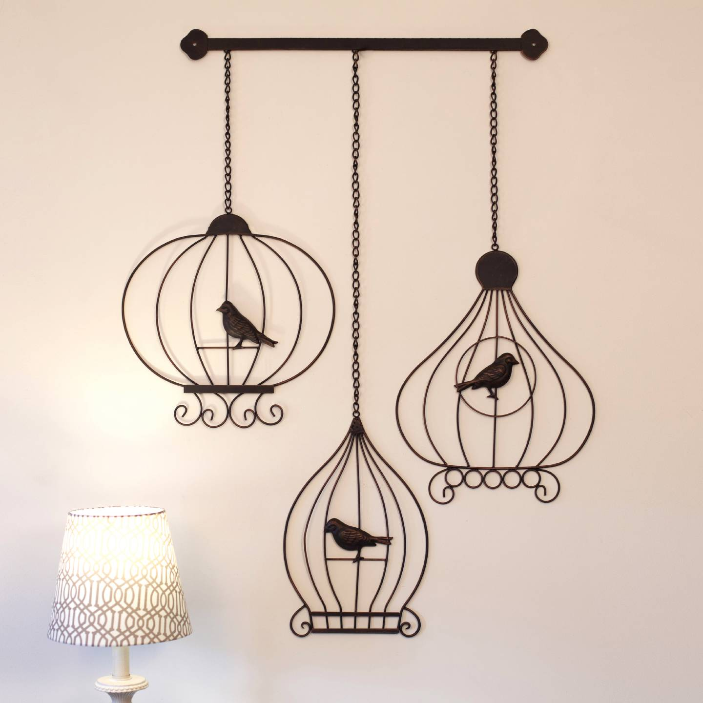Wrought Iron Metal Wall Art 52cm Vintage BIRDCAGES