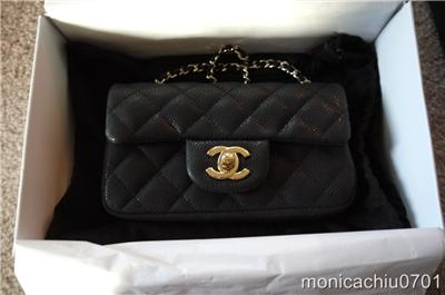 Chanel } Black Caviar Leather XS Mini Classic Flap BAG NEW 2012