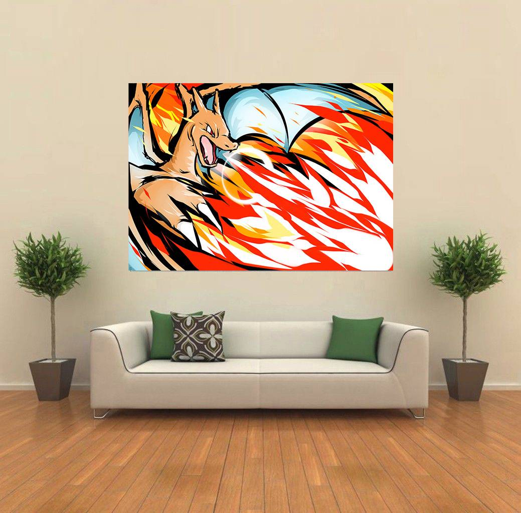 charizard pokemon andy warhol style pop giant wall poster art print c006 ebay. Black Bedroom Furniture Sets. Home Design Ideas