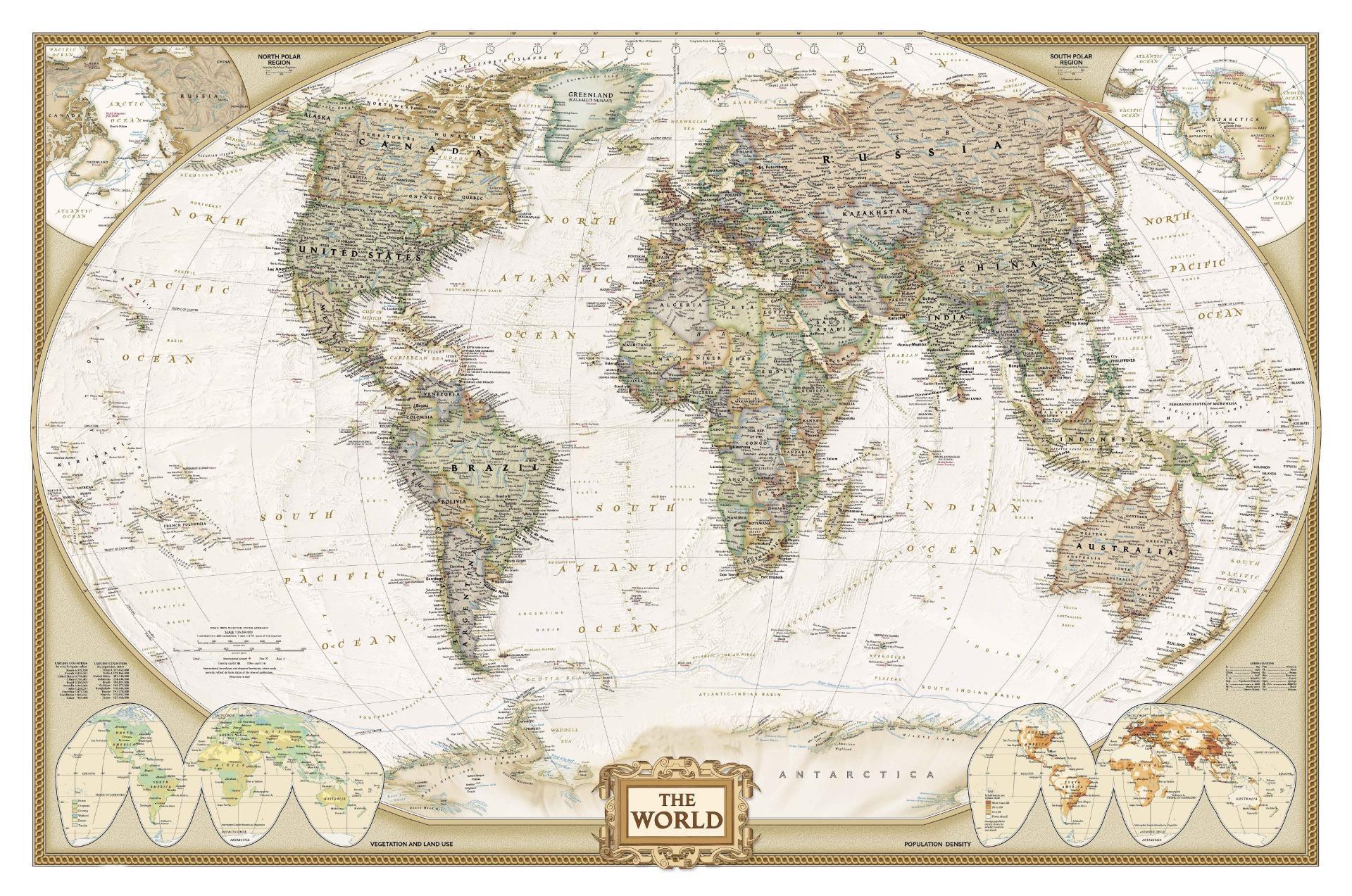 VINTAGE GIANT Mappa Del Mondo Taglie A4 A3