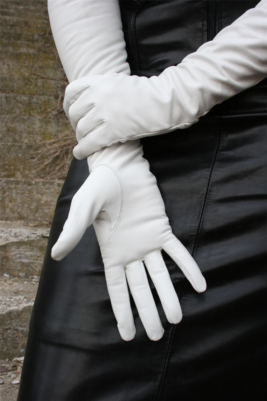 25'' (64 cm) long white leather opera gloves size 7,5'' | eBay
