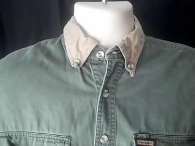 Remington vintage mens s green hunting fishing shirt elbow for Green top hunt fish