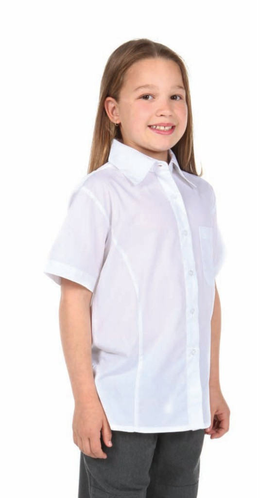 New School Girls Blouse Shirt White Collar Kids Primary