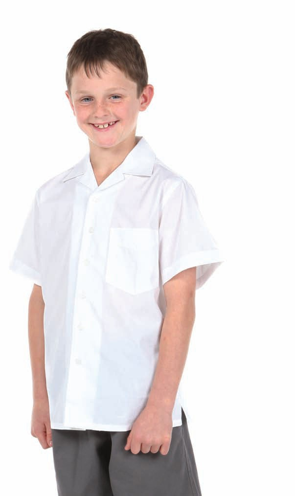 Boys Flat Collar Shirt School White Uniform Kids Top Short