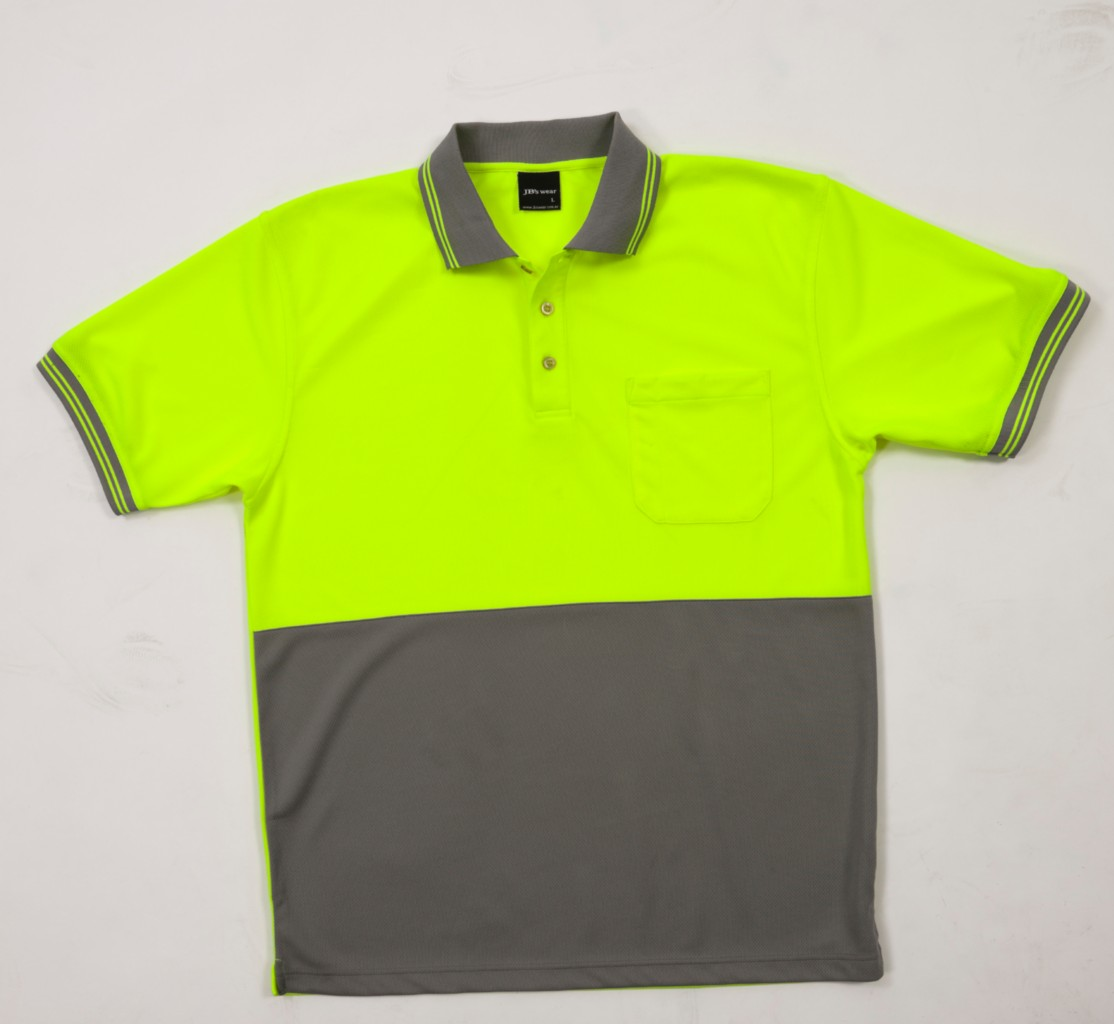 Hi vis workwear two tone s s traditional polo shirt safety for Hi vis safety shirts