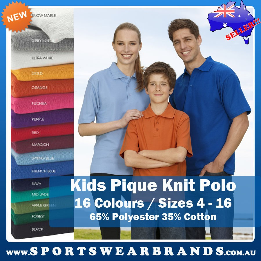 Kids-Pique-Knit-Polo-Shirt-Top-Boys-Girls-Sports-Casual-16-Colours-Ladies