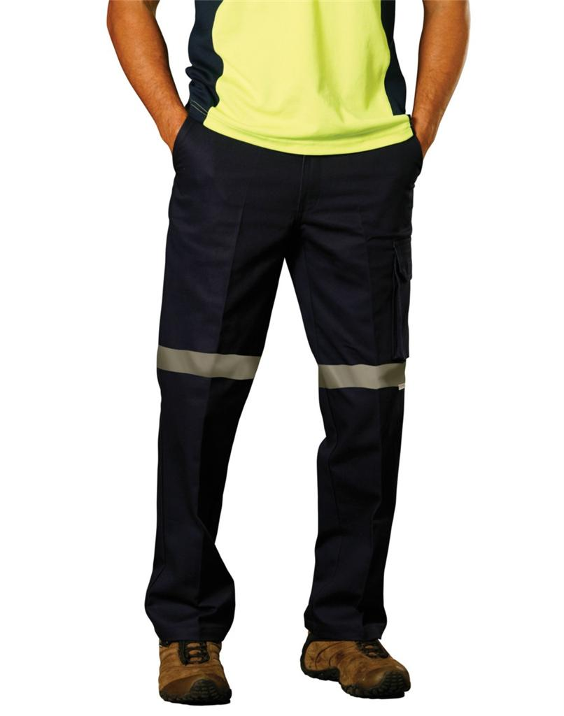 Mens Cotton Drill Pants 3M Tape Workwear Day Night ...