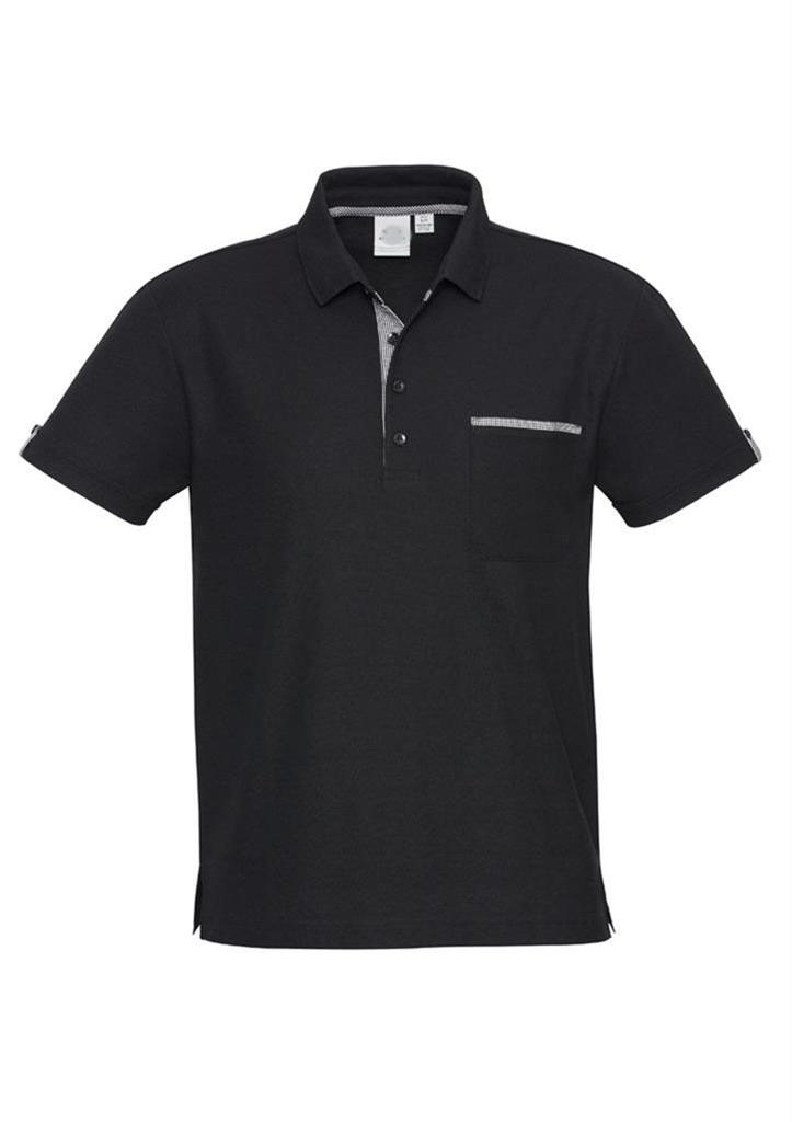 Mens edge polo shirt black check hotel casual business for Business casual polo shirt