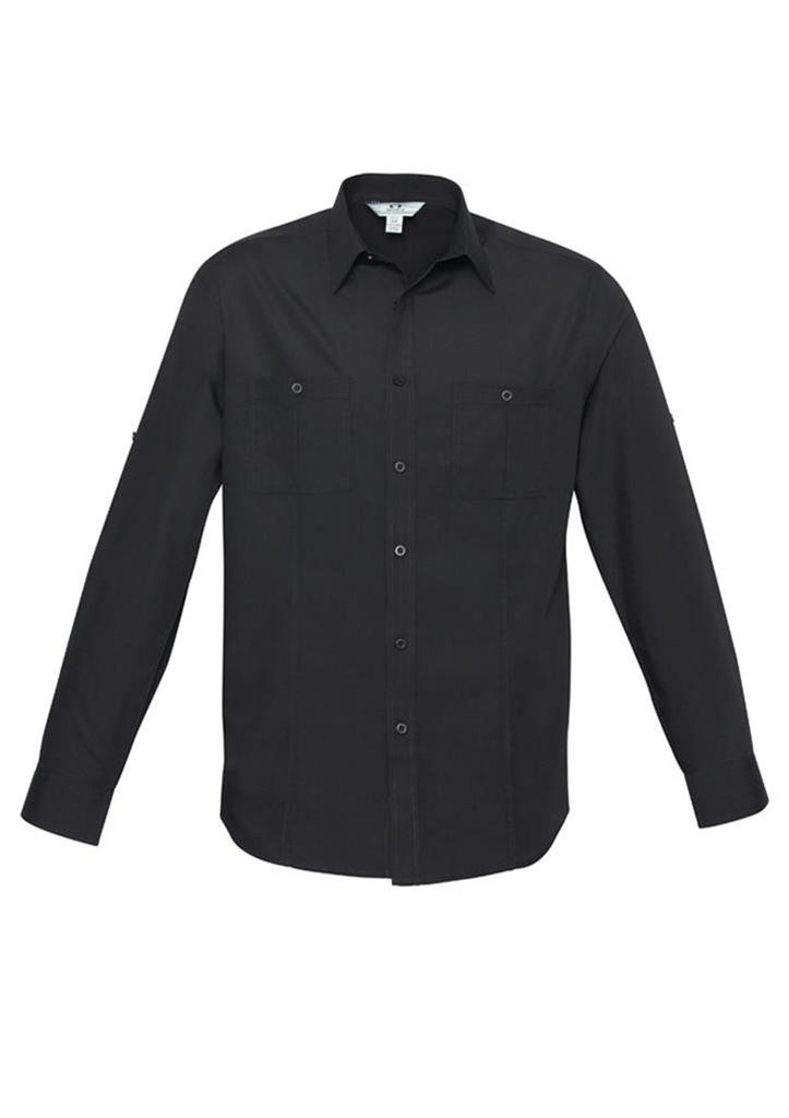 Mens bondi roll up long sleeve shirt pockets business for Black shirt business casual