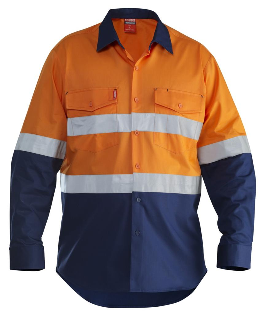 Stubbies hi vis l s cotton drill shirt reflective tape for Hi vis shirts with reflective tape
