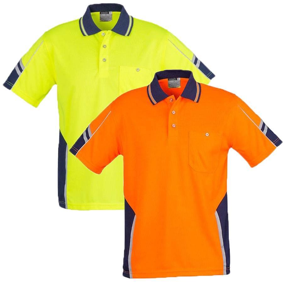 Mens squad hi vis polo shirt top safety work wear size xs for Hi vis safety shirts