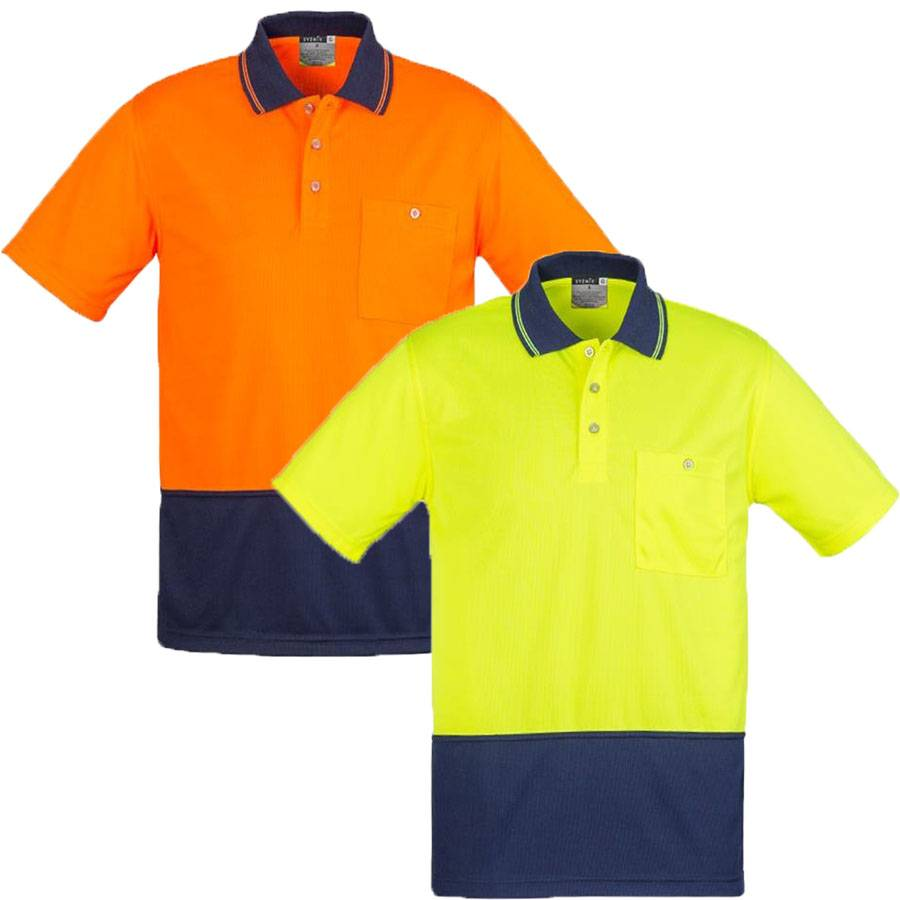 Unisex Basic Hi Vis Safety Work Polo Shirt Top Mens Women