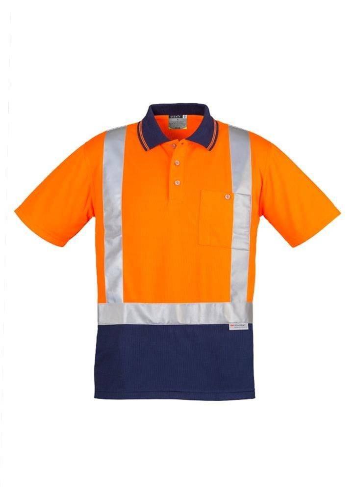 Mens day night two tone hi vis polo shirt top 3m for Hi vis shirts with reflective tape