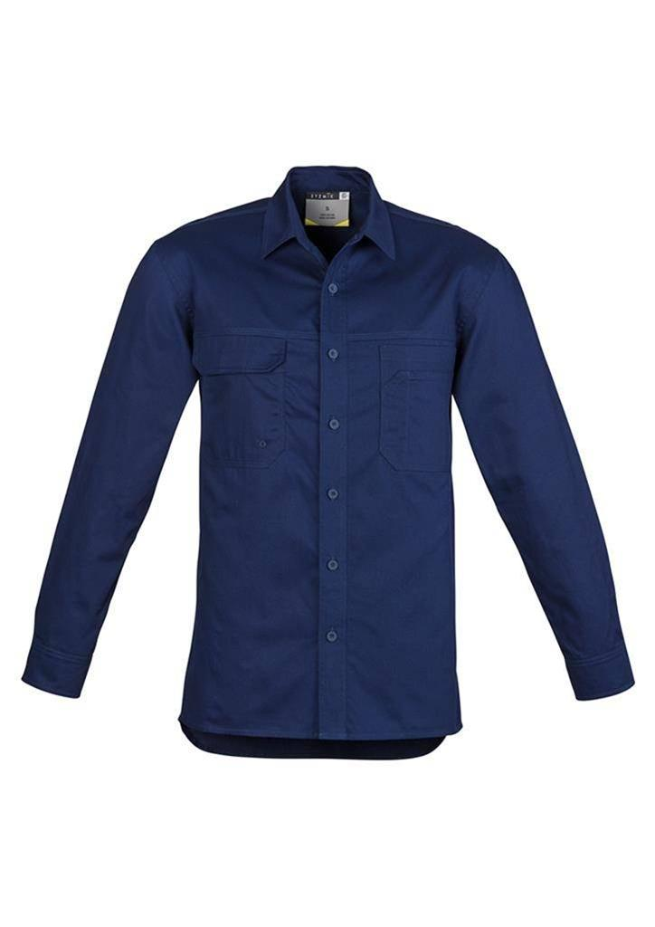 mens lightweight tradie long sleeve cotton twill shirt