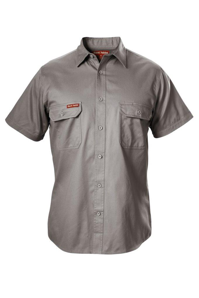 drill sleeve hard yakka workwear cotton drill shirt short sleeve work tradie