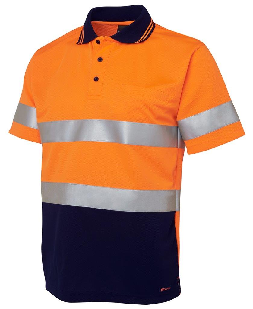 Hi vis polo shirt 3m reflective tape work day night top for Hi vis shirts with reflective tape