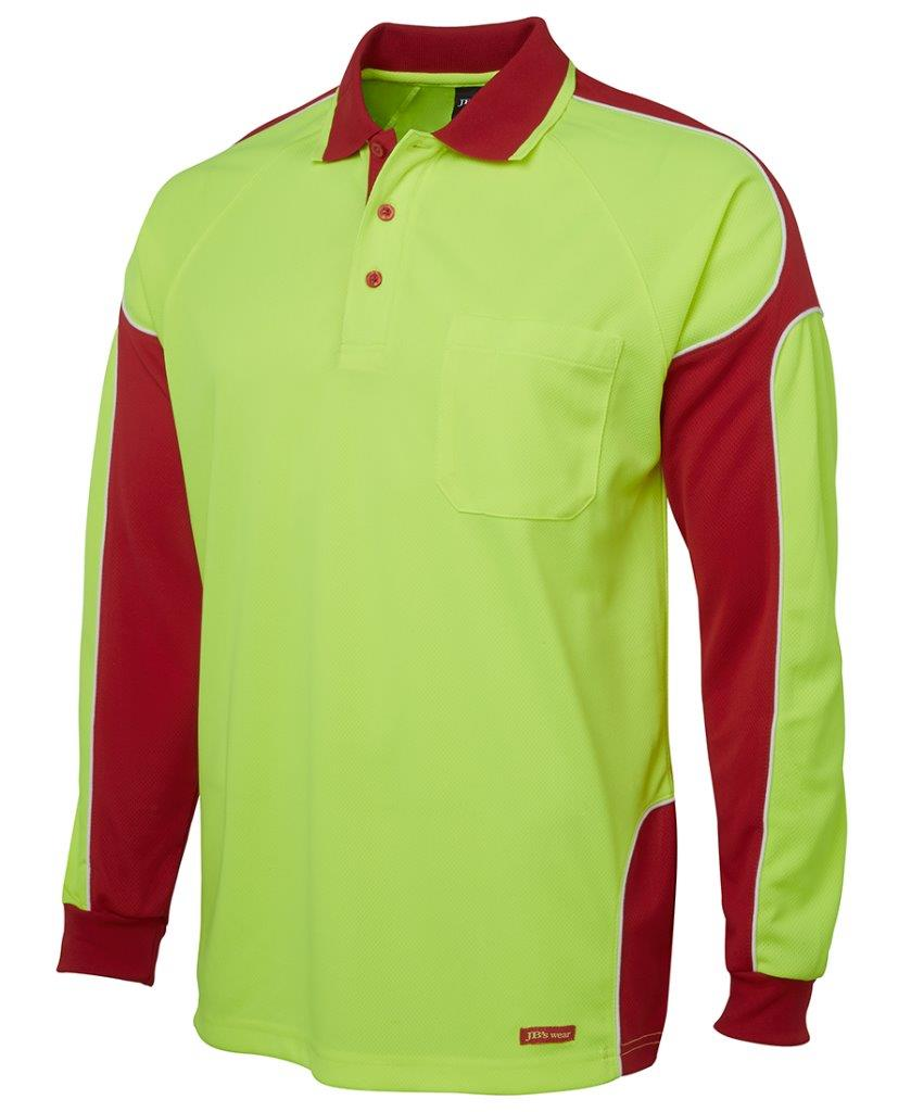 Mens Hi Vis Long Sleeve Arm Panel Polo Shirt Work