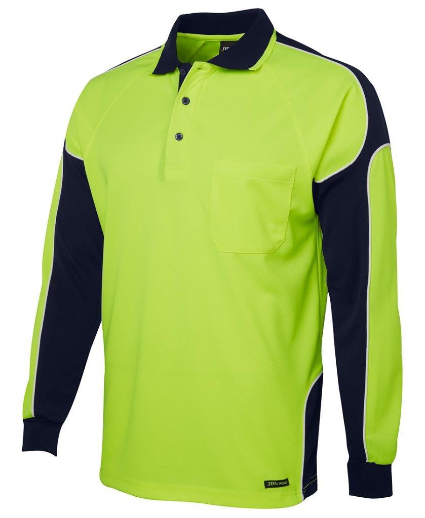 Mens hi vis long sleeve arm panel polo shirt work for Hi vis polo shirts with pocket