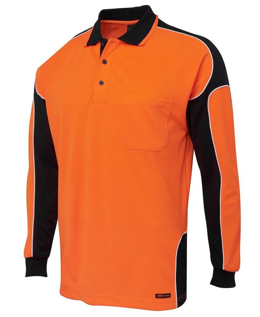 Mens hi vis long sleeve arm panel polo shirt work for Mens work polo shirts