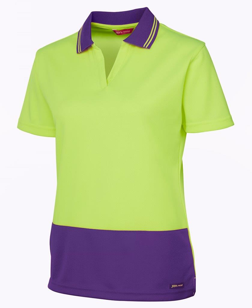 Ladies Hi Vis Safety Work Polo Shirt Top V Neck Size 8 24