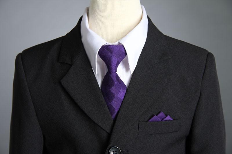 Boys Vki Purple Black 5pc Suit - Male Models Picture