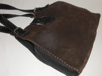 Carla Mancini Brown Suede Leather Hobo Handbag Tote Purse
