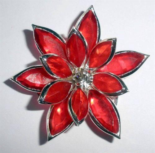 30mm Flatback Flowers Large Red Floral Silver Trim Rhinestone Embelishment