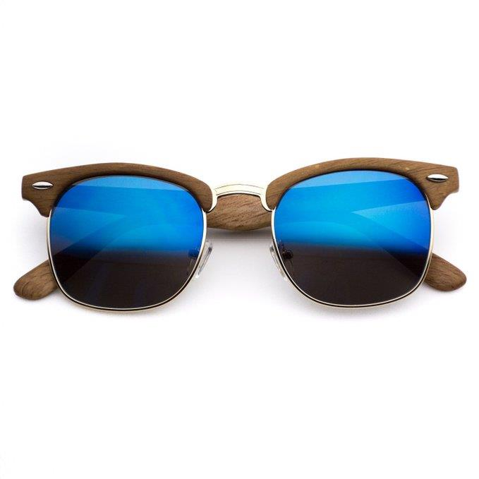 Half Frame Wood Glasses : Wood Print Clubmaster Sunglasses Mens Womens Vintage ...