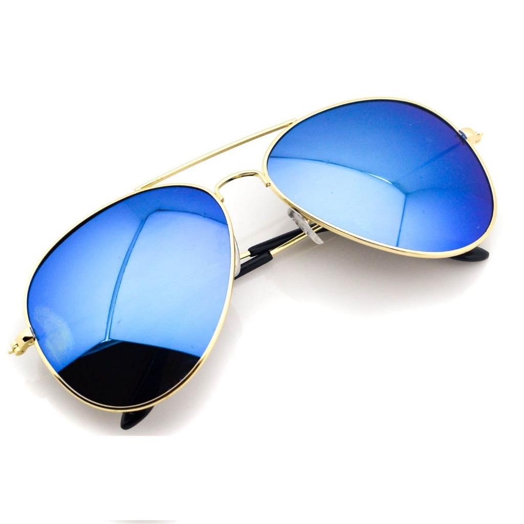 Aviator Full Gold Frame Mirror Lens Metal Sunglasses ...