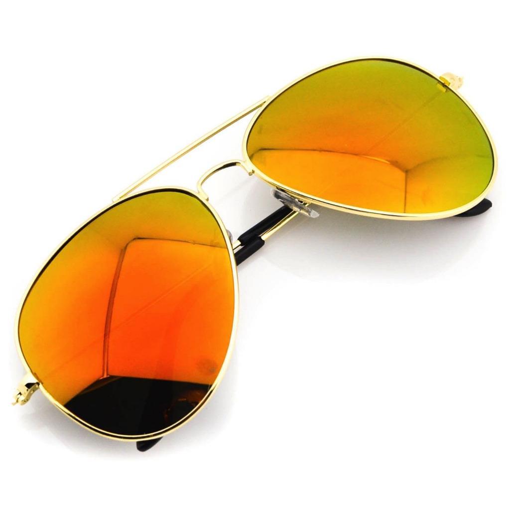 Aviator Sunglasses Gold Frame Mirror Lens : Aviator Full Gold Frame Mirror Lens Metal Sunglasses ...