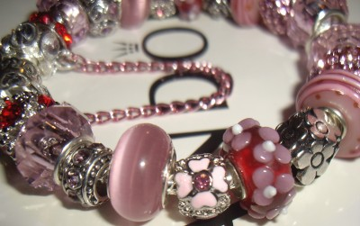 Authentic Pandora Pink and Red Hello Kitty Charm Bracelet w/ Safety