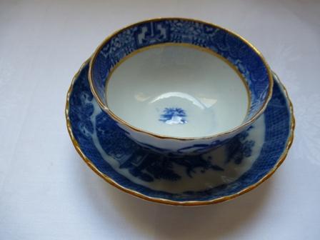Tasse et sa soucoupe bleu blanc fa ence fine anglaise ebay for Faience 11x11 blanc