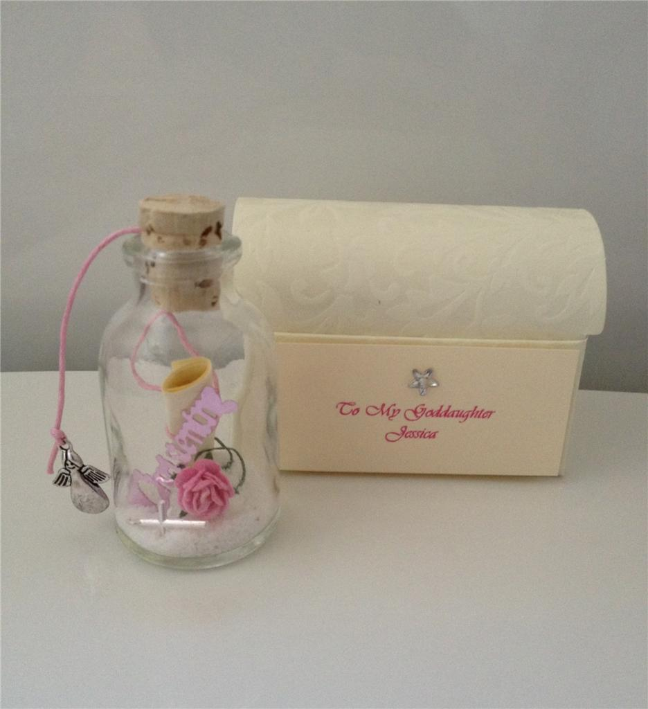 PERSONALISED TO MY GODDAUGHTER / GODSON MESSAGE IN A BOTTLE GIFT CARD KEEPSAKE