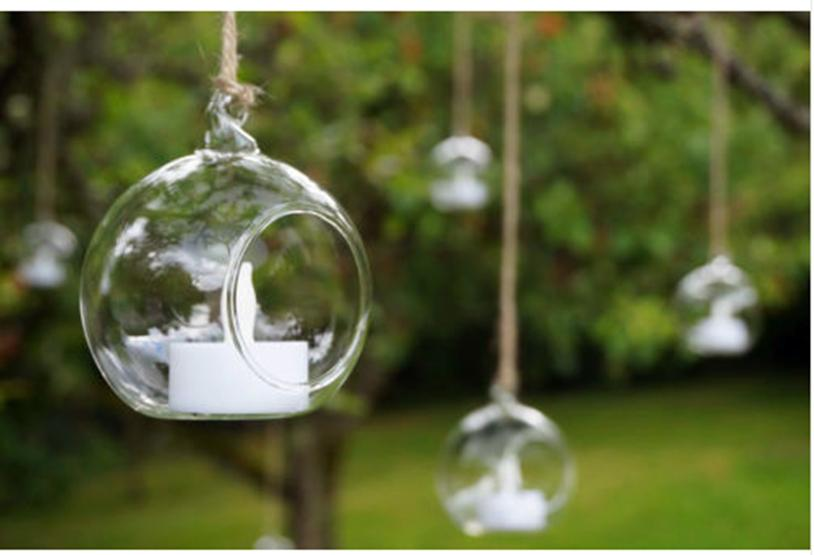4pcs hanging glass bauble tealight candle garden for Outdoor hanging ornaments