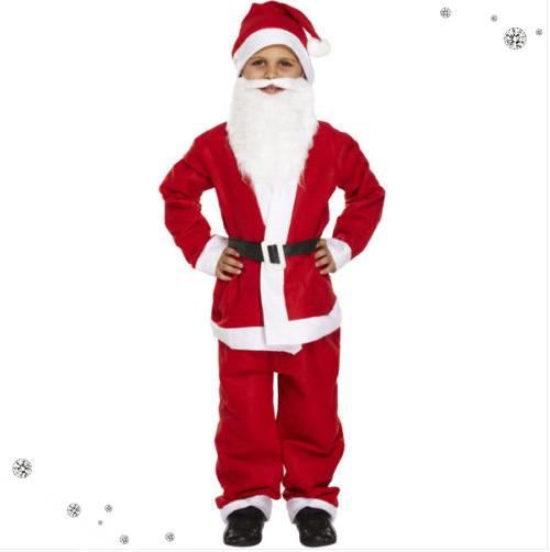 Child kids santa claus suit with beard christmas father