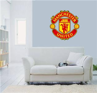 huge manchester united wall sticker removable huge soccer wall stickers manchester united badge color