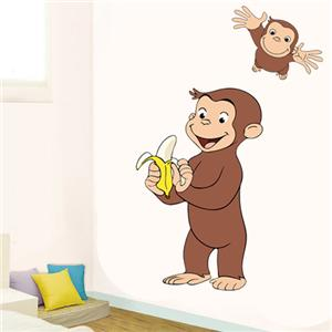 Curious george huge wall sticker decal vinyl decor cartoon for Curious george wall mural