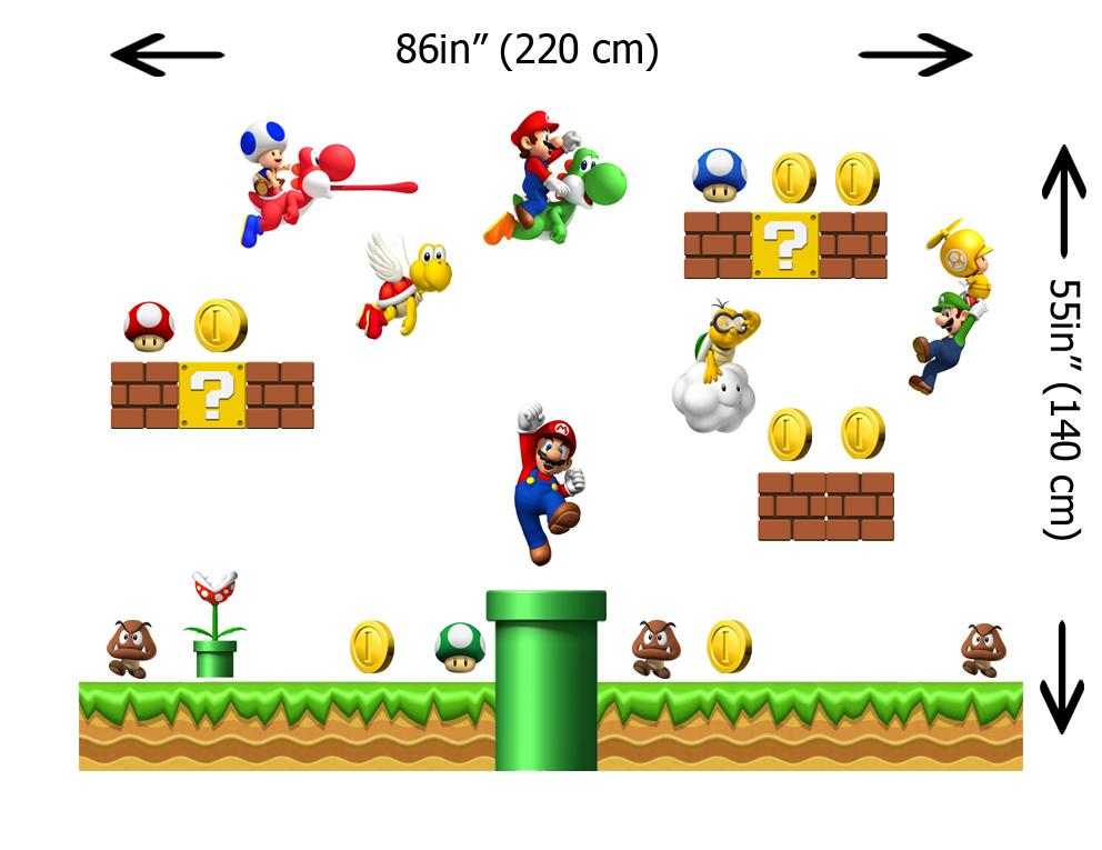 Wall sticker giant super mario removable repositionable scene decal kids n2013 ebay - Super mario giant wall decals ...
